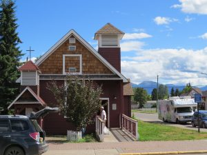 The Old Church in Smithers, British Columbia with the BIObus peeking around the corner.
