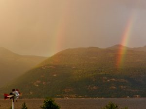 A double rainbow over Kootenay Lake
