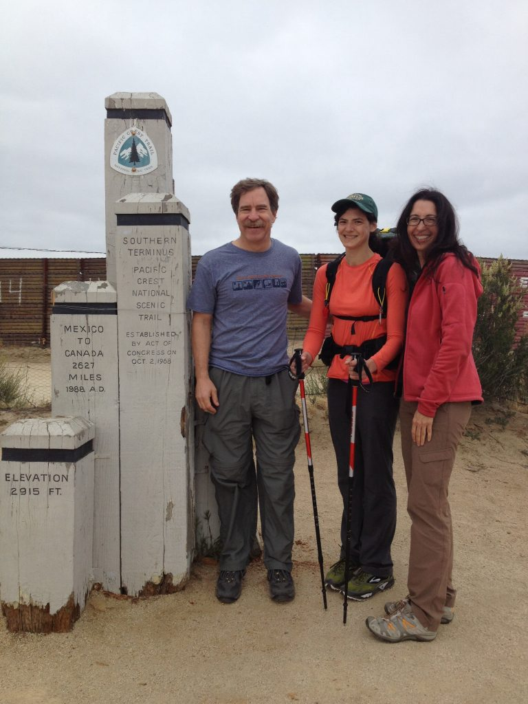Carlene begins her trek at the start of the Pacific Crest Trail. Brad Zlotnick, a collaborator from San Dieguito River Valley Conservancy brought Carlene to the border.