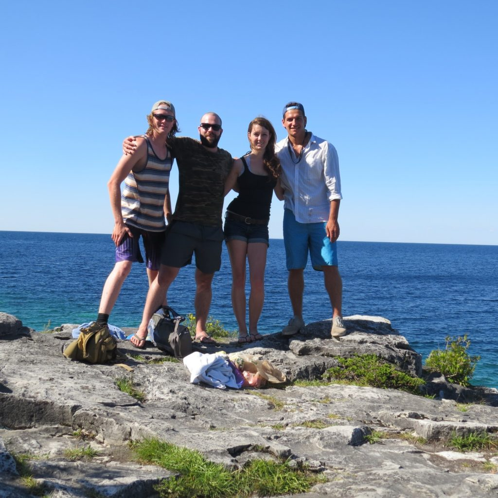 Our sampling team posing for a picture along the shoreline of Little Cove in Bruce Peninsula National Park. Left to right: Nate, Connor, Shannon, Adrian.