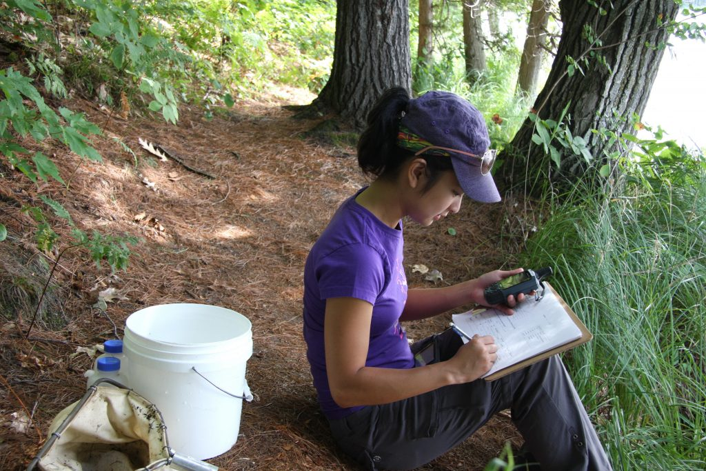 Kate recording data for the aquatic samples