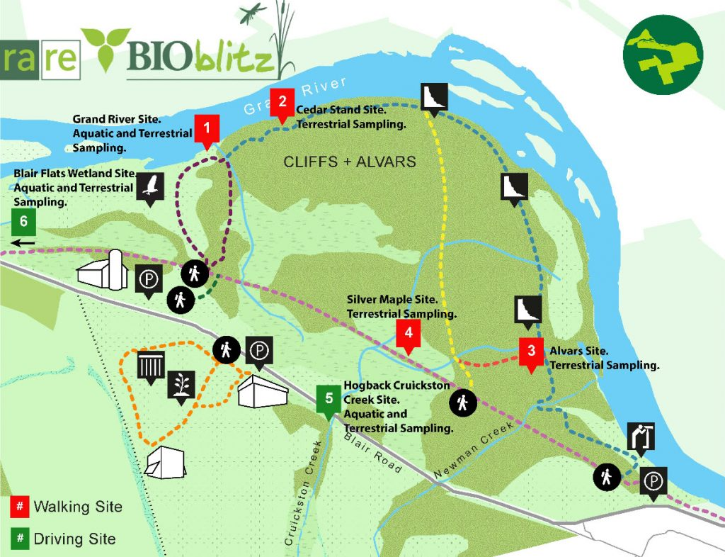 Map of the rare Charitable Research Reserve collecting sites for the 2015 Bioblitz