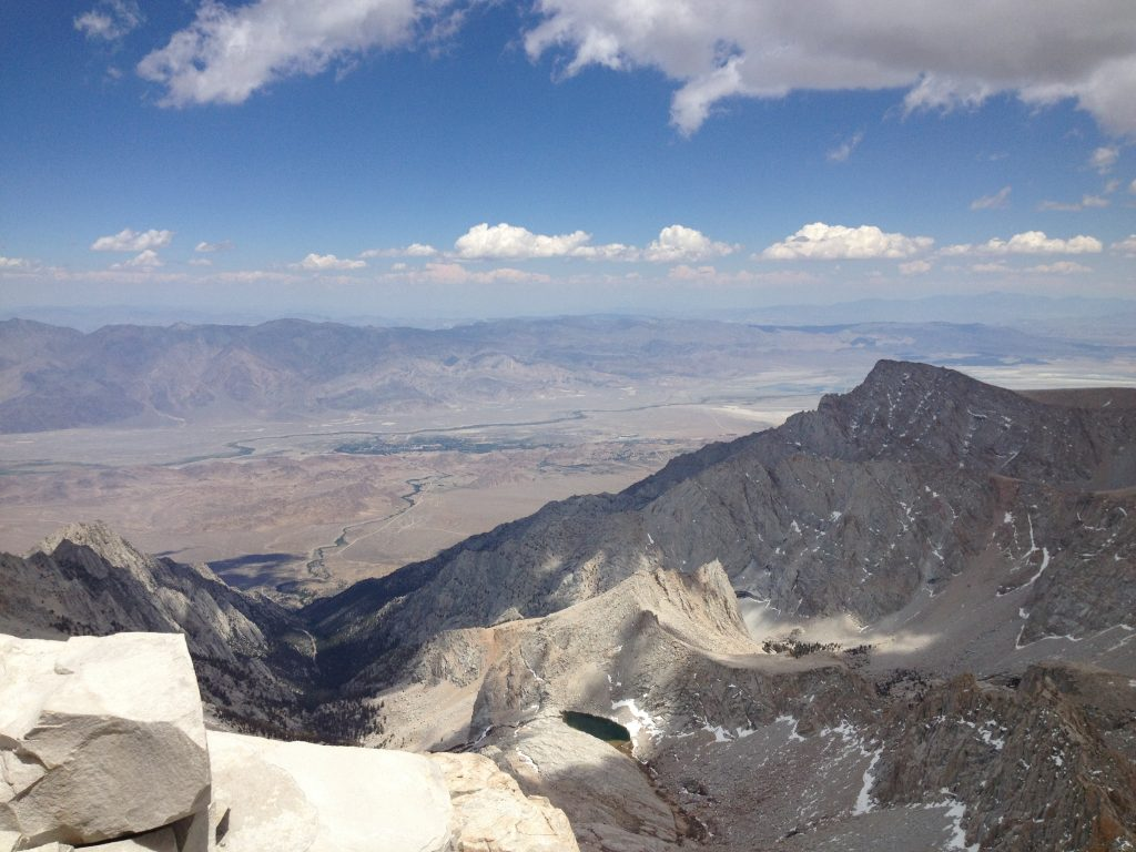 View of Bishop, California from the top of Mt. Whitney